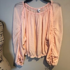 Joie gauze peach ruched long sleeve blouse Sz Sm